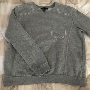 Forever 21 Gray Stitched Sweatshirt